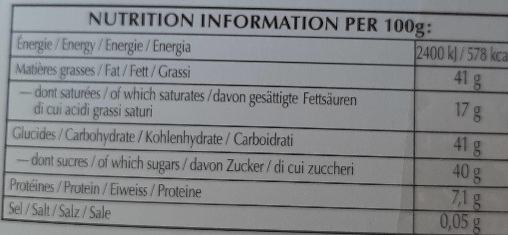 Les grandes Praliné noisette noir - Informations nutritionnelles - fr