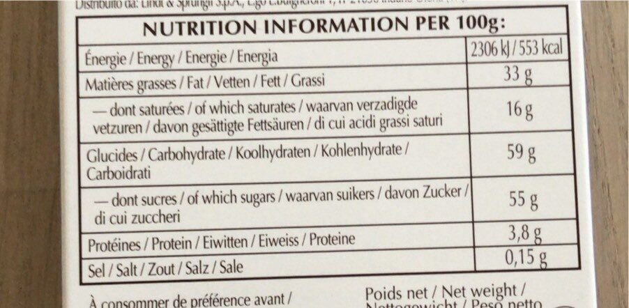 Praliné feuillantine Chocolat au lait - Voedingswaarden - fr