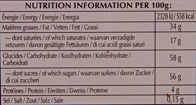 Praliné feuillantine - Nutrition facts