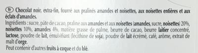 Les Grandes Praliné Noisettes Noir - Ingredients - fr