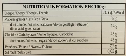 Les Grandes Praliné Noisettes Noir - Nutrition facts - fr