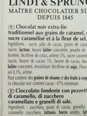 Chocolat Caramel à la pointe de sel - Ingredients