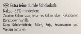 chocolat 85 % - Inhaltsstoffe - de