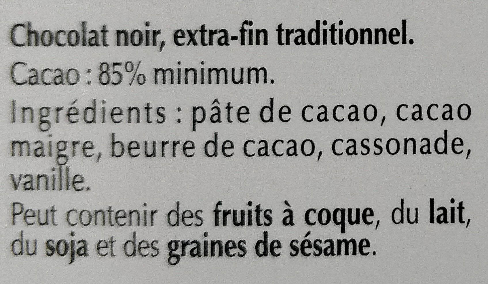 chocolat 85 % - Ingredients - fr