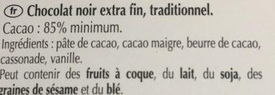Chocolat Noir 85% Cacao - Ingrédients
