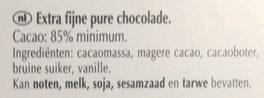 chocolat   lindt  85  de  cacao - Ingrediënten - nl