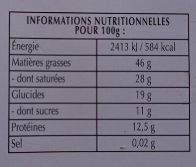 chocolat 85 % - Nutrition facts - fr