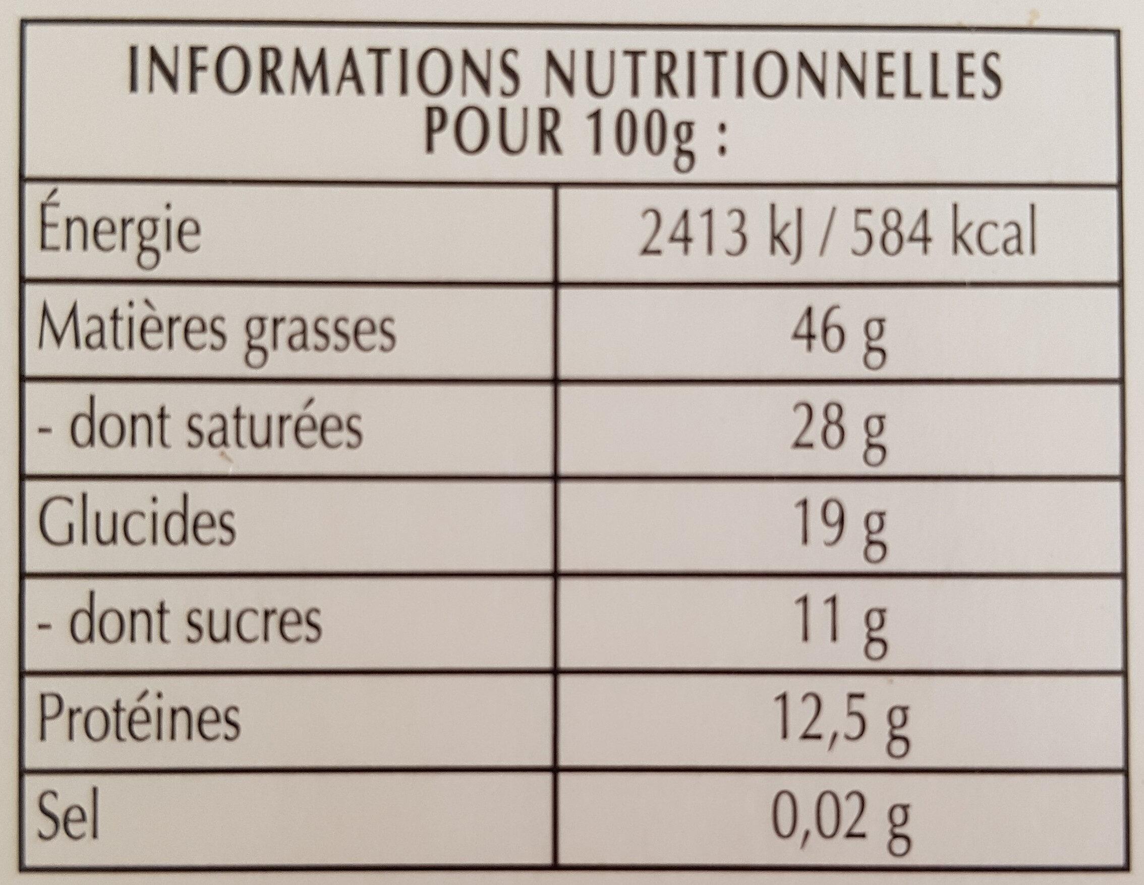 chocolat   lindt  85  de  cacao - Información nutricional - fr