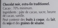 Excellence 70% Cacao Noir Intense - Ingredients - fr
