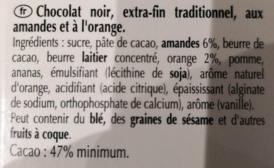 Excellence - Chocolat noir orange intense - Ingredients - fr