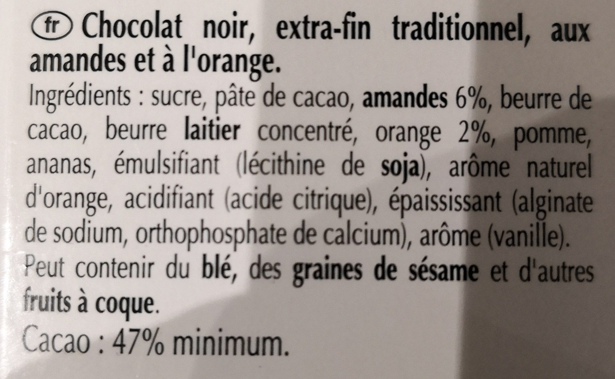 Orange intense Noir orange intense - Ingrédients - fr