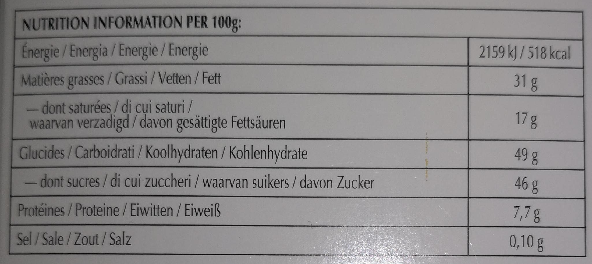Excellence - Chocolat noir orange intense - Nutrition facts - fr