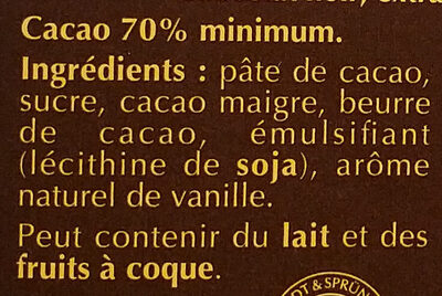 A cuisiner 70% Cacao - Ingredients - fr