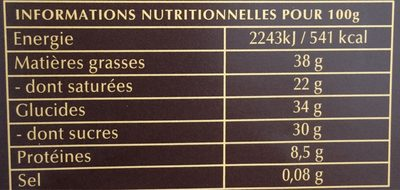 A cuisiner 70% Cacao - Nutrition facts - fr
