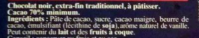 Le 70% cacao à cuisiner (Lot x 2) - Ingrediënten