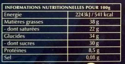 Le 70% cacao à cuisiner (Lot x 2) - Voedigswaarden