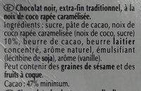 Excellence Noix de Coco Intense Noir - Informació nutricional