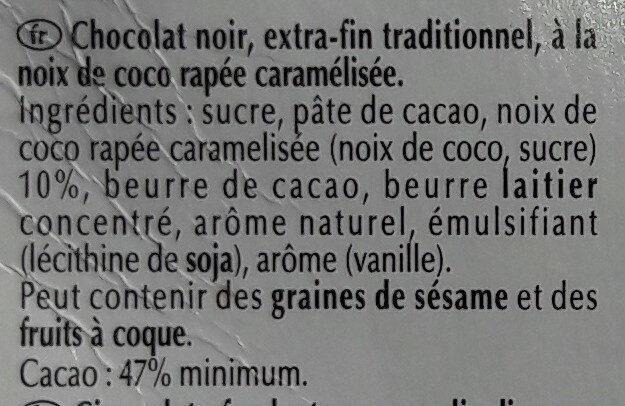 Excellence noix de coco intense noir - Nutrition facts - fr