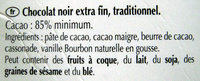Excellence 85% Cacao Noir Puissant - Ingrediënten