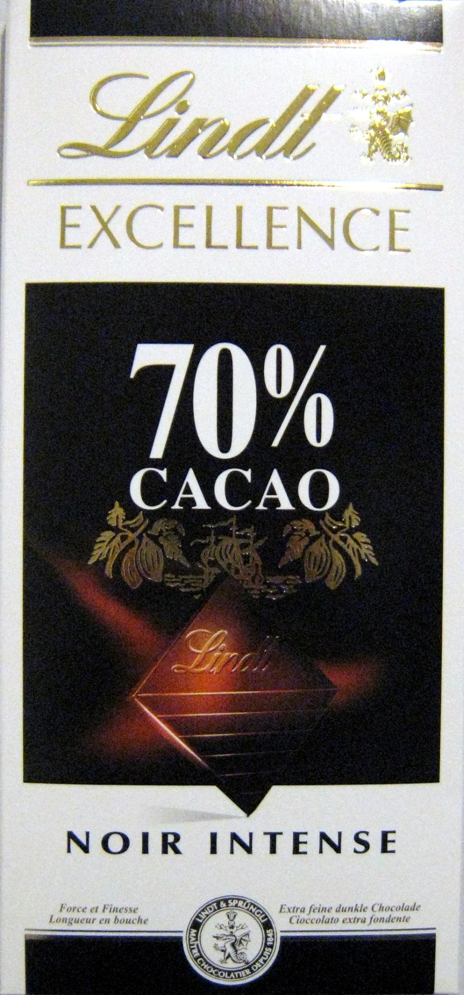 chocolat excellence 70 cacao noir intense lindt 100 g. Black Bedroom Furniture Sets. Home Design Ideas