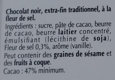 Chocolat noir 47% et pointe de fleur de sel - Ingrédients - fr