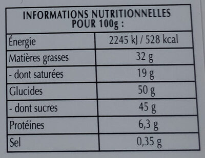Chocolat noir 47% et pointe de fleur de sel - Nutrition facts - fr