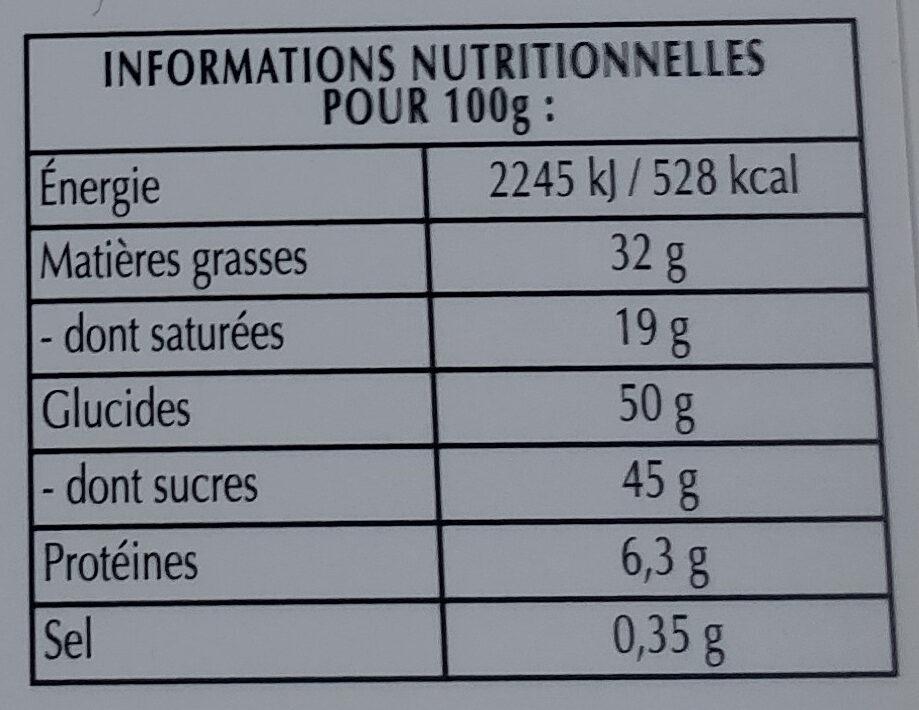 Chocolat noir 47% et pointe de fleur de sel - Informations nutritionnelles - fr