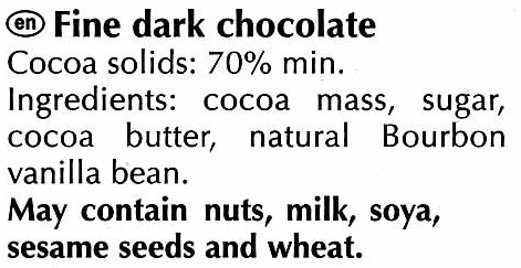 Excellence dark 70% cocoa - Ingredients