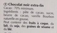 Lindt Excellence Dark Chocolate Bar - 70% - Ingrédients - fr