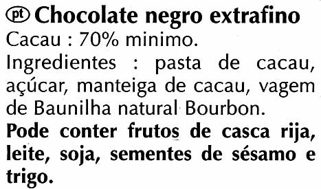 Chocolate negro 70% cacao - Ingredients