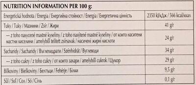 Lindt Excellence Dark Chocolate Bar - 70% - Výživové údaje - cs