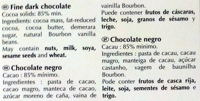 Chocolate 85% cacao - Ingredientes
