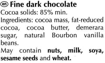 Excellence 85% Cacao Noir Puissant - Ingredients