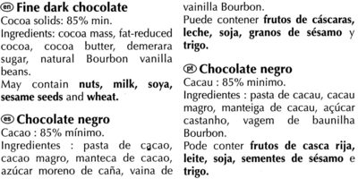 Excellence dark 85% cocoa - Ingredienser - en