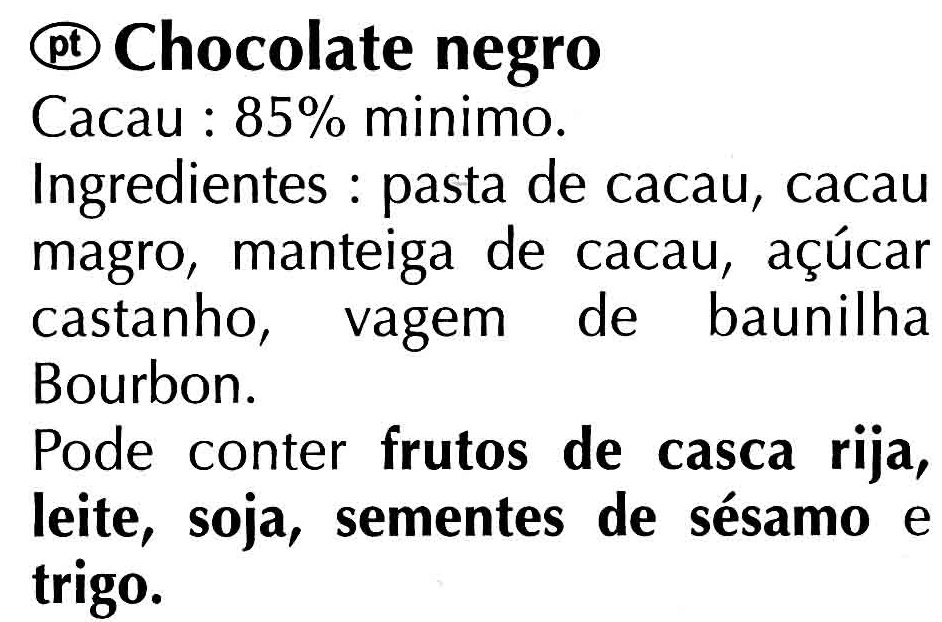Chocolat noir 85% - Ingredients