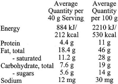 Excellence dark 85% cocoa - Informazioni nutrizionali