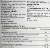 Excellence 85% Cacao Noir Puissant - Пищевая и энергетическая ценность
