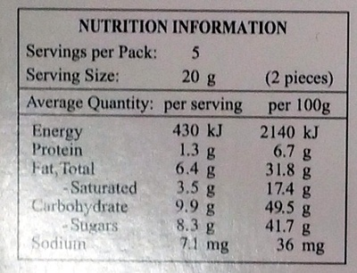 Excellence dark intense orange - Nutrition facts