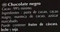 Excellence 99% Cacao - Noir absolu - Ingredientes - es