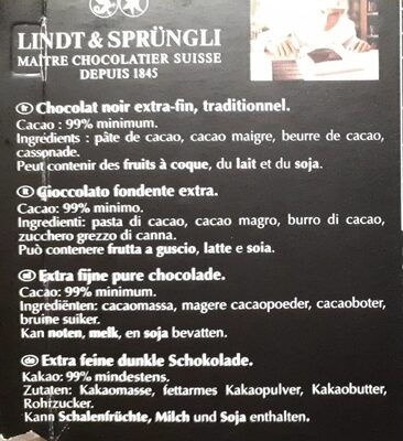 Chocolat Noir extra-fin 99% Cacao Lindt Excellence - Ingrediënten