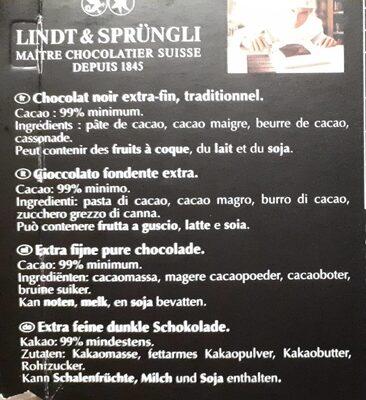 Chocolat Noir Excellence 99% de Cacao - Ingredienti