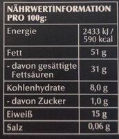 Chocolat Noir extra-fin 99% Cacao - Nährwertangaben - de