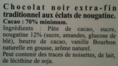 Excellence 70% cacao nougatine - Ingredients - fr