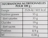 Excellence doux 85% cacao - Chocolat noir délicat - Nährwertangaben - fr