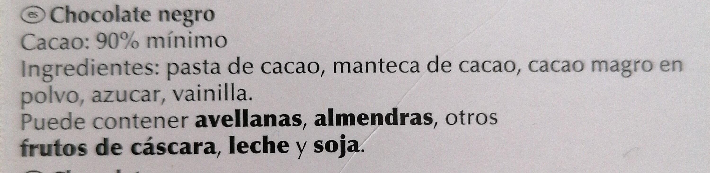 Excellence: 90% cacao - Ingrediënten - es