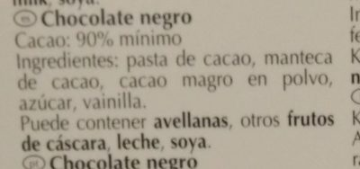 90% cacao - Ingredientes