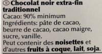Noir Prodigieux 90% cacao - المكونات - fr