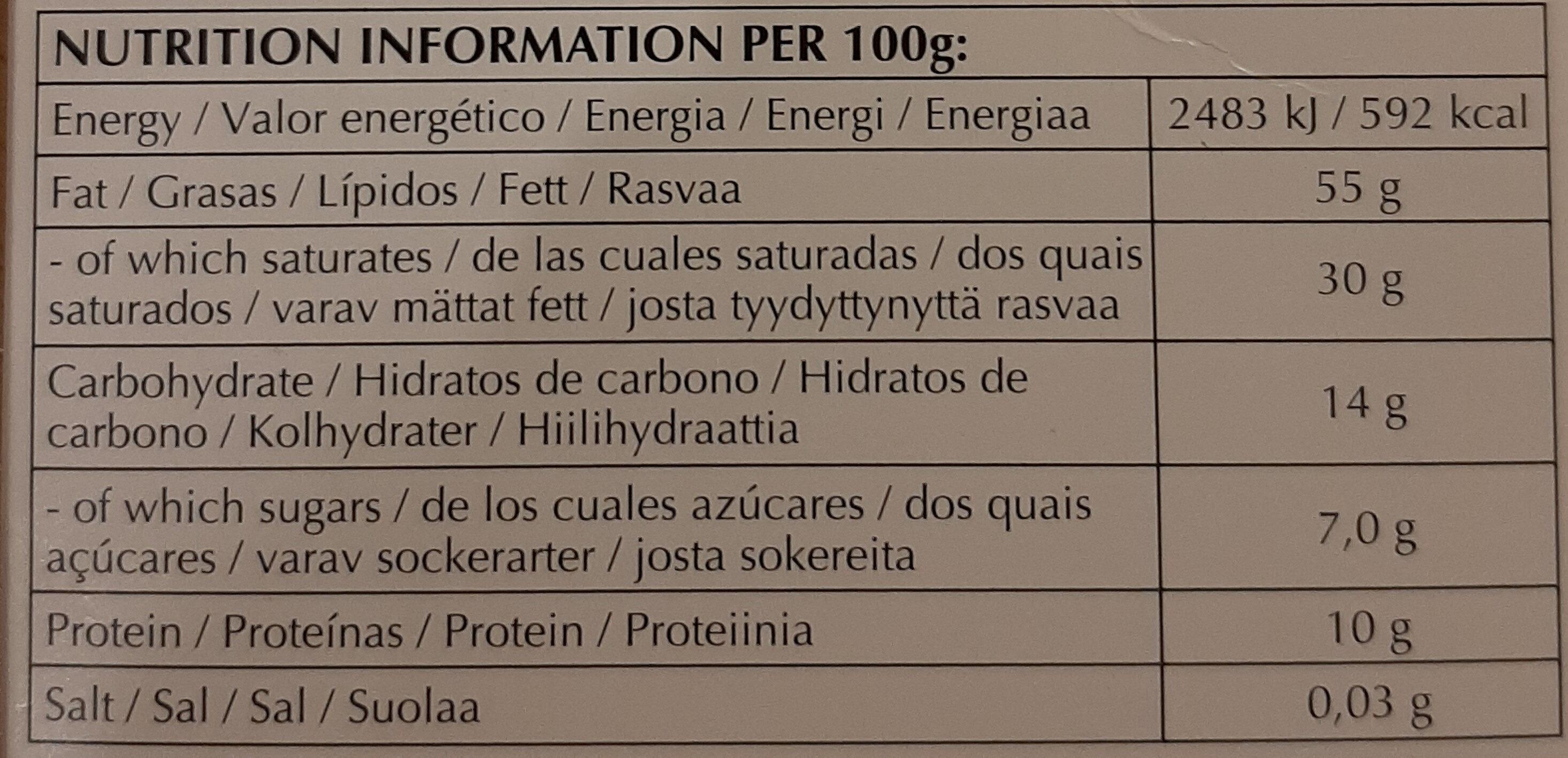Noir prodigieux - Información nutricional - es