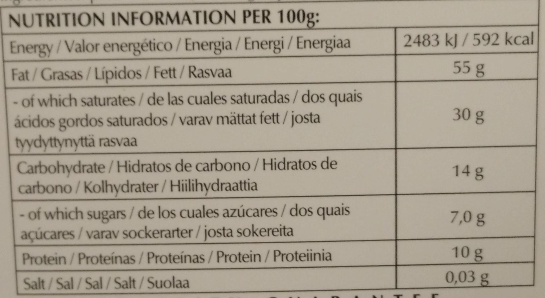 Noir prodigieux - Información nutricional