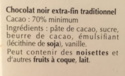 Lindt excellence Noir Subtil 70% - Ingredients